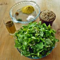 garlic mustard pesto prep